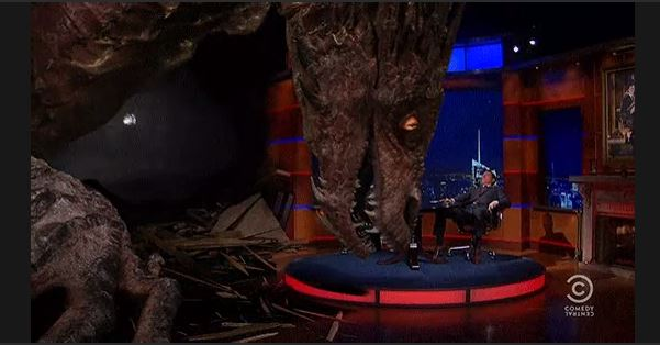 Stephen Colbert interviewing Smaug