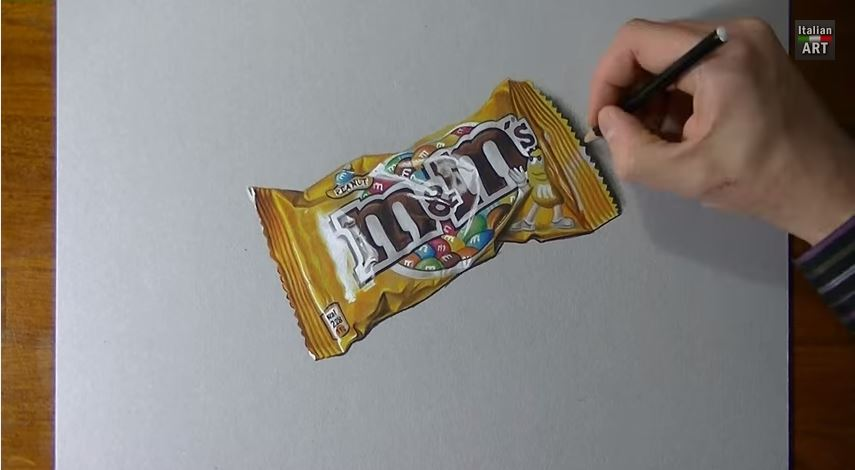 Drawing time lapse: a bag of M&M's - hyperrealistic art