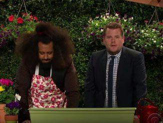 Reggie Watts is excited to walk James Corden through a gardening demo