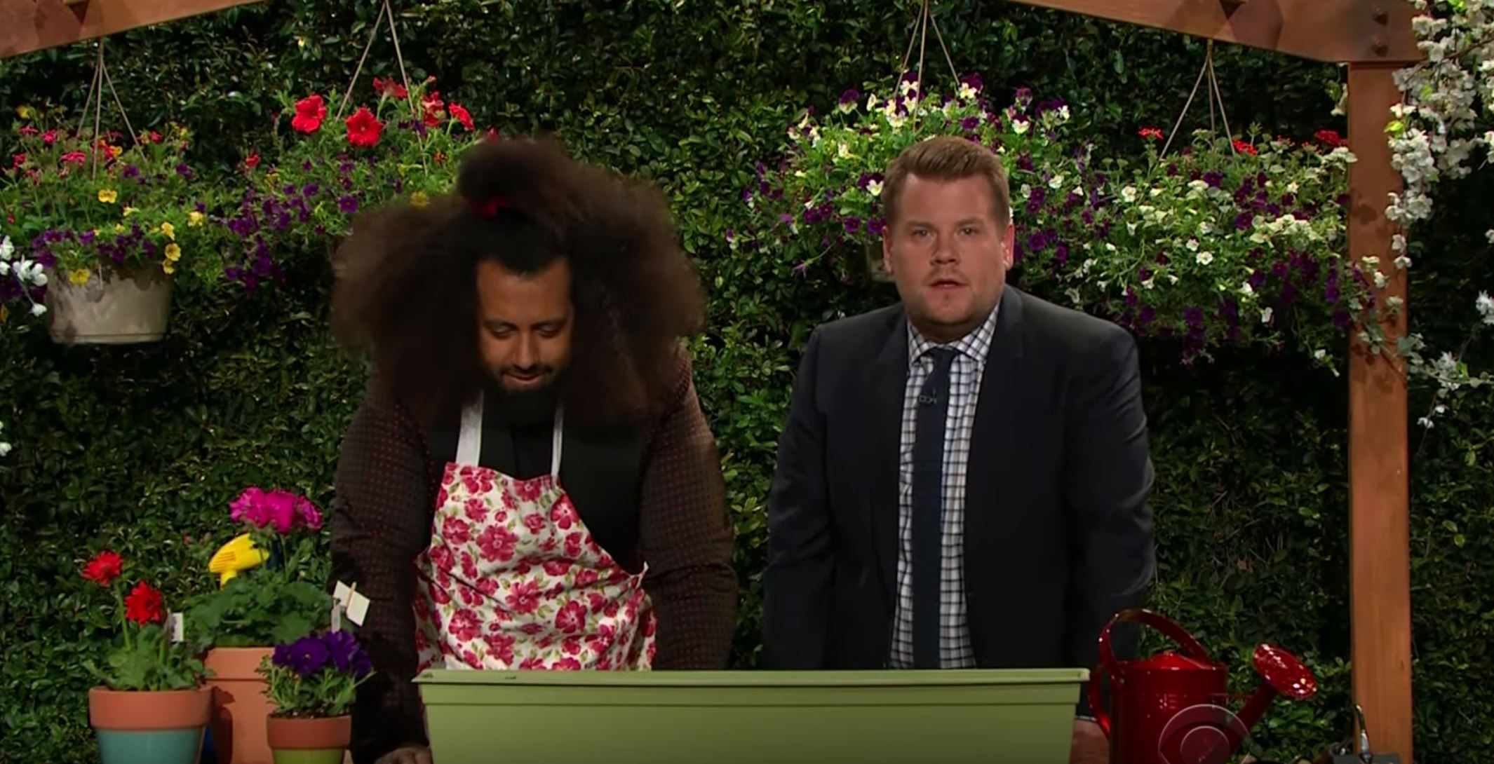 Reggie Watts is excited to walk James Corden through a gardening demo