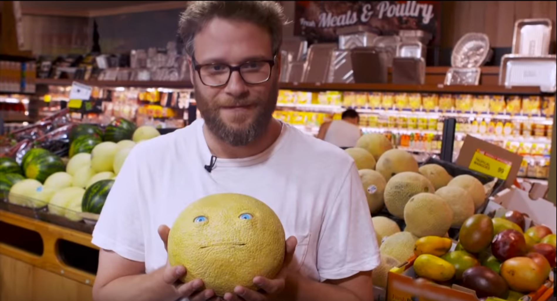 Seth Rogen shows the people of New York that our food has feelings with awesome prank